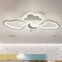 Acrylic Cloud and Moon Flushmount Nordic White/Pink LED Semi Flush Mount Light Fixture for Nursery