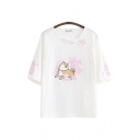 Cute Dog Floral Printed Paw Half Sleeves Asymmetric Patched V-neck Loose Fit Tee Top for Girls