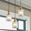 3 Bulbs Cup Cluster Pendant Light Contemporary Gold Textured Crystal Ceiling Suspension Lamp