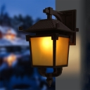 1-Bulb Lantern Surface Wall Sconce Cottage Style Coffee Finish Yellow Glass Wall Light