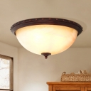 2 Lights Riveted-Edge Dome Flushmount Minimalist Brown Frosted Glass Ceiling Flush Light