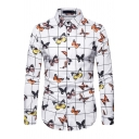 Mens Trendy Allover Butterfly Printed Checkered Long Sleeve Point Collar Button down Regular Fit Shirt Top
