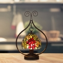 Bowl Table Light Mediterranean Stained Glass 1-Head Bronze Nightstand Lamp with Fruit Pattern