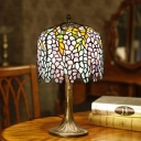 Wisteria Night Lamp 1 Head Stained Art Glass Victorian Table Lighting in Bronze with Resin Base