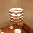 Wood Strap Barrel Pendant Lamp Nordic Single Beige Hanging Light with Pull Chain over Table
