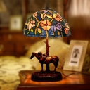 Victorian Floral Patterned Night Lighting 1 Head Stained Glass Nightstand Lamp in Coffee with Horse Deco