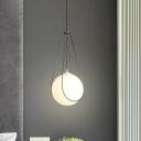 Nickel Raindrop Cage Pendant Lighting Simple 1 Head White Ball Glass Hanging Ceiling Light