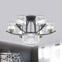9/12-Head Crystal Semi Flush Chandelier Contemporary Black Curved Prism Bedroom Ceiling Mount Light
