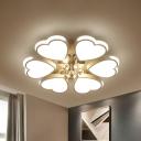 White Loving Heart Ceiling Flush Romantic Modern Acrylic Living Room LED Flush Mounted Light with Crystal Ball Drop