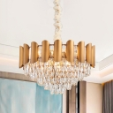 Conical Beveled-Cut Crystal Drop Lamp Postmodern 6-Head Dining Table Pendant Chandelier in Brass