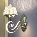 Chrome Swirled Arm Wall Sconce Modern Crystal 1/2-Head Living Room Wall Mount Lamp with Tapered Shade