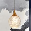 Orb Shaped Bedside Pendant Lamp Minimalistic Seedy Crystal Single Coffee Suspended Lighting Fixture