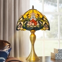 Cut Glass Bowl Table Lighting Baroque 1-Light Gold Flower Patterned Night Lamp for Living Room