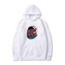 Trendy Wave Letter Blaite Monkey Printed Pocket Drawstring Long Sleeve Regular Fitted Graphic Hooded Sweatshirt for Men