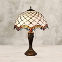2-Light Beaded Nightstand Lamp Baroque Bronze Finish Beige Glass Pull Chain Desk Light with Scalloped Shade