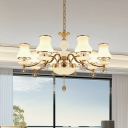 Milky Ribbed Glass Curvy Chandelier Contemporary 8 Lights Dining Table Suspension Light in Champagne