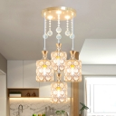 Simple 4-Head Multi Pendant Light Fixture Gold Cylinder Drop Lamp with Clear Crystal Shade