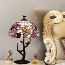 Bowl Night Lighting 1 Light Mediterranean Stained Art Glass Table Lamp in Coffee with Blossom Pattern