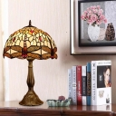 Bronze Dragonfly Night Table Light Victorian 1 Light Hand Cut Glass Nightstand Lamp with Domed Shade