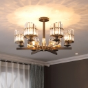 6 Lights Crystal Semi Flush Mount Contemporary Black Radial Bedroom Close to Lighting Fixture