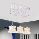 Geometric Metal Multi Pendant Simple Style 3 Lights White Finish Crystal Down Lighting for Dining Room