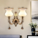 Cream Glass Gold Wall Sconce Flower 2 Lights Mid Century Crystal Wall Light with Curvy Arm