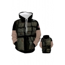 Popular Mens Flap Pockets Printed Contrasted Long Sleeve Drawstring Pouch Pocket Relaxed Hoodie in Black