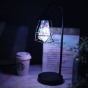 Black Swan Neck USB Table Light Nordic Iron LED Night Lamp with Geometric Cage, Warm Light/Fourth Gear