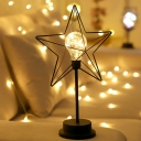 Starfish Bedroom Table Lamp Iron Nordic LED Night Stand Light with Clear Bulb Glass Shade in Black
