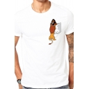 Fashionable Men's Cartoon Printed Crew Neck Short Sleeve Regular Fit T-Shirt in White
