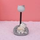 Cat in Sweet Dream Bedside Table Lamp Resin Cartoon Mini LED Nightstand Light in Dark/Light Grey