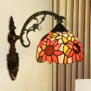 1-Head Bowl Shade Wall Mounted Light Tiffany Red/Orange/Green Handcrafted Glass Sconce with Sunflower/Rose/Morning Glory Pattern