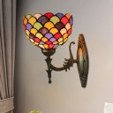 Dots/Fish-Scale Wall Mount Lighting 1 Bulb Multicolored Stained Glass Tiffany Sconce Light in Bronze