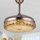 Faceted Crystal Round Ceiling Fan Light Modern 42.5