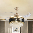 Crystal Prism Tiered Hanging Fan Light Contemporary 47