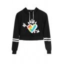 Colorful Letter Proud Lip Graphic Varsity Striped Long Sleeve Drawstring Regular Fit Crop Fancy Hoodie