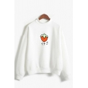 Chic Girls Japanese Letter Strawberry Graphic Long Sleeve Mock Neck Loose Pullover Sweatshirt
