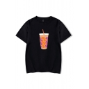 Popular Womens Bottle Printed Short Sleeve Crew Neck Loose Fit T-shirt