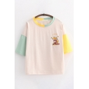 Popular Womens Letter Autumn Fox Embroidered Contrasted Half Sleeves Crew Neck Loose T Shirt in Apricot