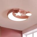 Pink Crescent and Star Ceiling Flush Macaron Metal LED Flush-Mount Light Fixture