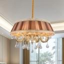 8 Heads Pleated Fabric Pendant Lamp Rustic Khaki Tapered Drum Living Room Chandelier Light