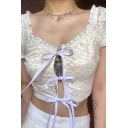 Novelty Womens Stringy Selvedge Tie Front Lace Short Sleeve Slim Fit Crop Tee Top in White