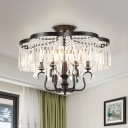 4/6 Lights Crystal Fringe Flushmount Vintage Black Floral Frame Bedroom Semi Flush Mount Ceiling Chandelier