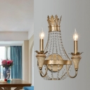 Pear Shaped Crystal Beaded Sconce Countryside 2 Heads Corner Wall Lighting Ideas with Candle Design in Gold