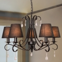 Metal Black Hanging Light Kit Scroll Arm 5 Lights Mid Century Chandelier Lamp Fixture with Barrel Fabric Shade