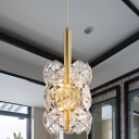 Ice Block Crystal Suspension Light Post Modern 6 Bulbs Dining Room LED Ceiling Chandelier in Gold