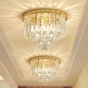 Modern Style Round Flushmount Lighting 3 Heads Diamond Crystal Flush Ceiling Lamp Fixture in Gold