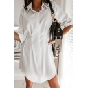 Formal Womens Solid Color Rolled Half Sleeves Turn down Collar Gathered Waist Button up Pleated Relaxed Long Shirt Top