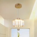 Flower Small LED Pendant Light Kit Simplicity Gold Crystal Suspension Lighting for Foyer