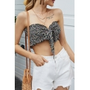Sexy Girls Ditsy Floral Pattern Strapless Bow Tie Front Stringy Selvedge Fit Crop Tube Top in Navy